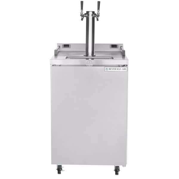 Beverage-Air DZ24-1-S Double Tap Dual Zone Kegerator Beer Dispenser - Stainless Steel, (4) 1/6 Keg Capacity