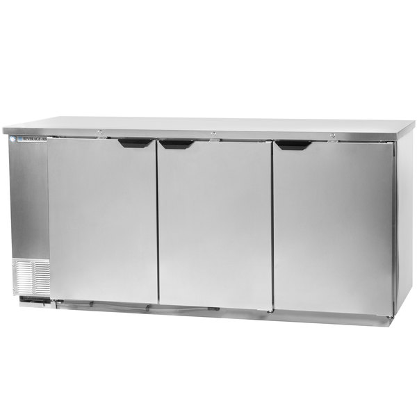 "Beverage-Air BB78-1-S-PT 79"" Stainless Steel Solid Door Pass-Through Back Bar Refrigerator with 2"" Stainless Steel Top"