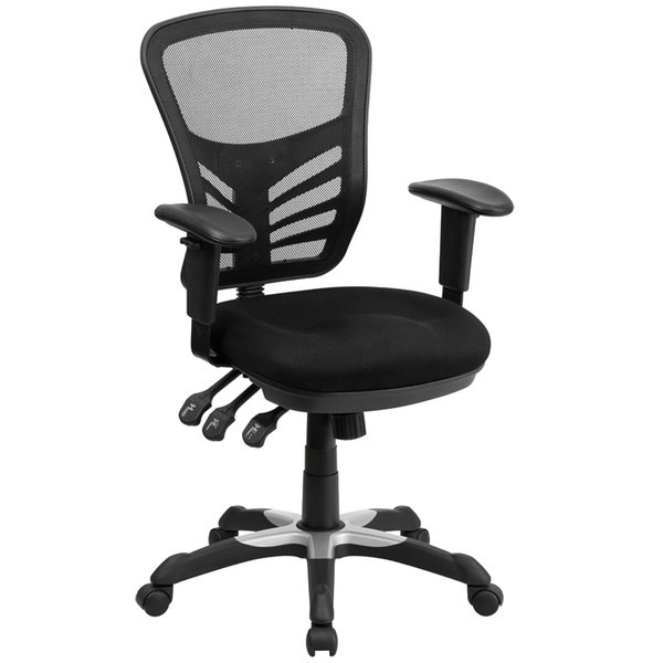 office chair controls. Flash Furniture HL-0001-GG Mid-Back Black Mesh Office Chair With Triple Paddle Control And Controls X