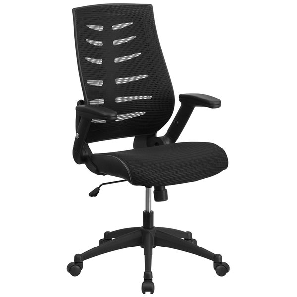 Flash Furniture BL-ZP-809-BK-GG High-Back Black Mesh Office Chair with Designer Fabric Seat, Flip-Up Arms, and Nylon Base Main Image 1