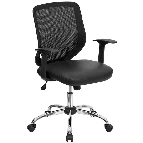 Flash Furniture LF-W95-LEA-BK-GG Mid-Back Black Mesh Office Chair with Mesh Back and Leather Seat Main Image 1