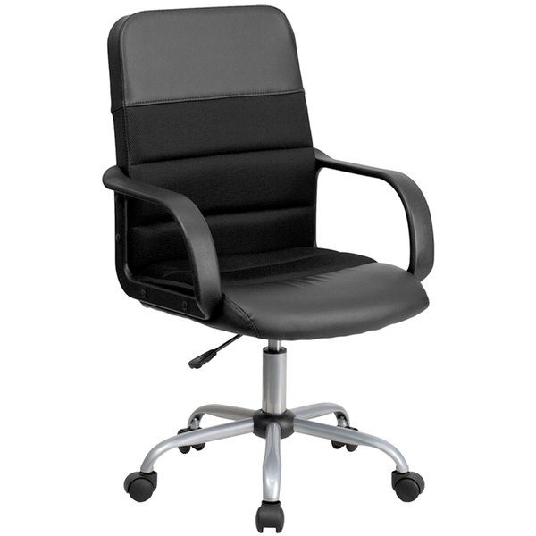 Flash Furniture LF-W-61B-2-GG Mid-Back Black Mesh Office Chair with Leather Seat and Nylon Base Main Image 1