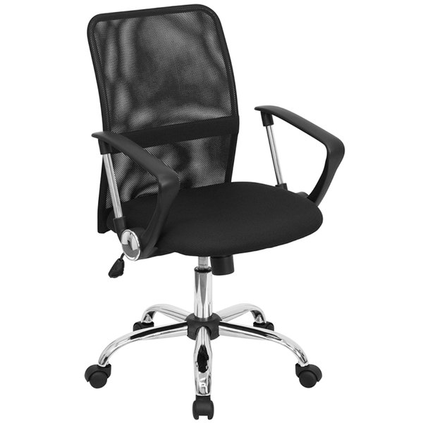 Bon Flash Furniture GO 6057 GG Mid Back Black Mesh Office / Computer Chair With  Chrome Base