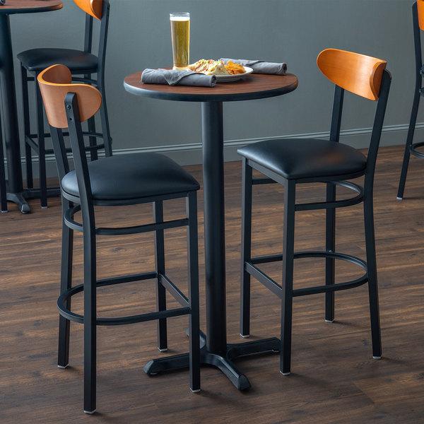 "Lancaster Table & Seating Chair / Barstool 2 1/2"" Black Vinyl Padded Seat Main Image 3"
