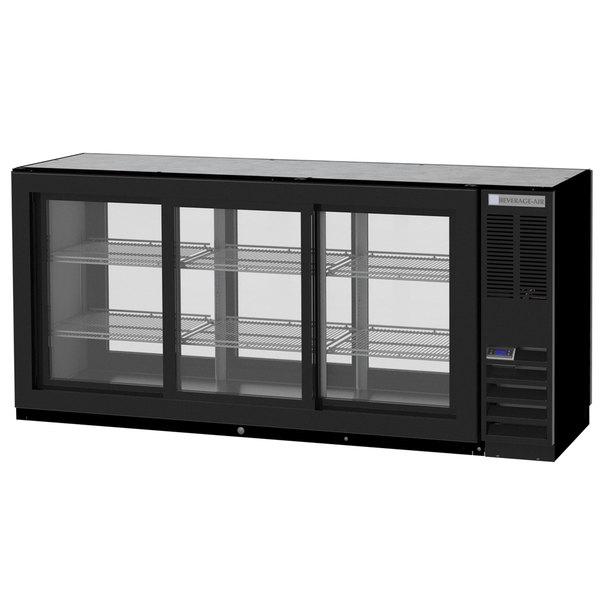 "Beverage-Air BB72HC-1-GS-PT-B 72"" Black Glass Door Pass-Through Back Bar Refrigerator Main Image 1"