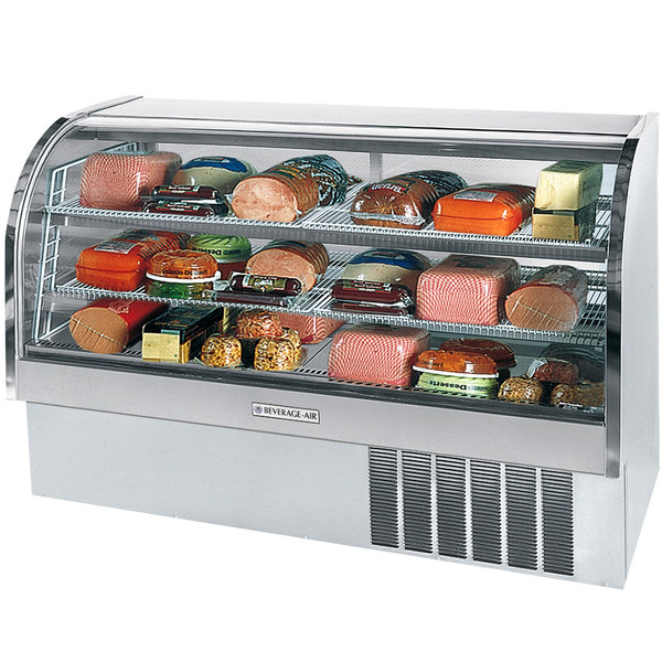 "Beverage-Air CDR6HC-1-SS-20 Stainless Steel Finish Curved Glass Refrigerated Bakery Display Case 73"" - 27.6 Cu. Ft."