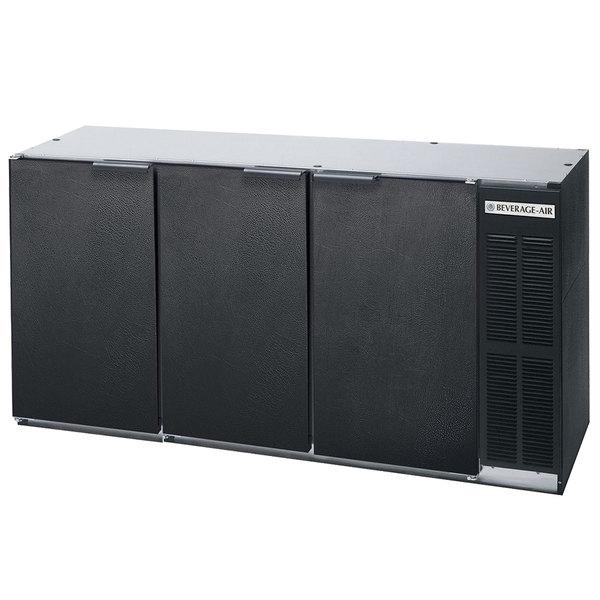 "Beverage-Air BB72Y-1-B-PT 72"" Black Solid Door Pass-Through Back Bar Refrigerator"