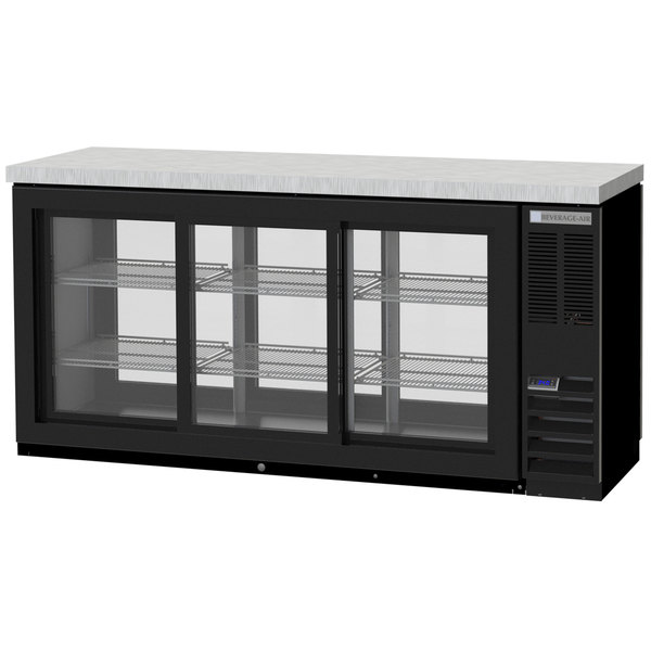 "Beverage-Air BB72HC-1-GS-PT-B-27 72"" Black Glass Door Pass-Through Back Bar Refrigerator with 2"" Stainless Steel Top"