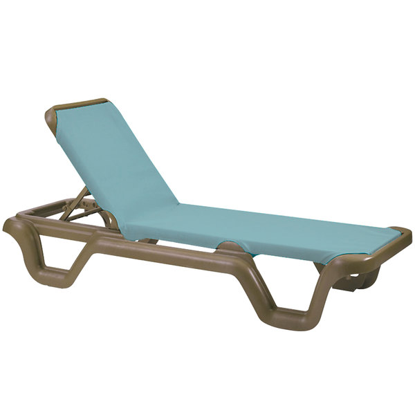 Case of 14 Grosfillex 99414550 / US414550 Marina Bronze Mist / Spa Blue Stacking Adjustable Resin Sling Chaise