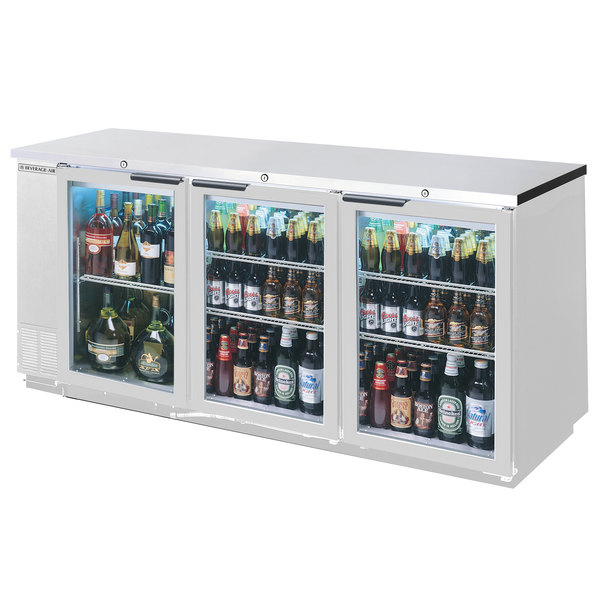 "Beverage-Air BB72GY-1-S-27-PT-LED 72"" Stainless Steel Glass Door Pass-Through Back Bar Refrigerator with 2"" Stainless Steel Top"