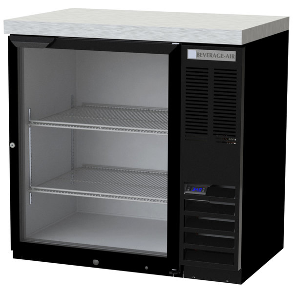 "Beverage-Air BB36HC-1-G-B-27 36"" Black Glass Door Back Bar Refrigerator with 2"" Stainless Steel Top"