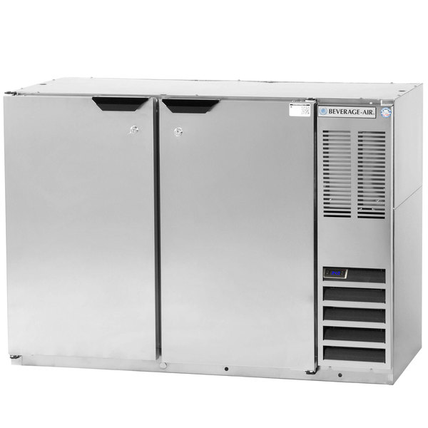 """Beverage-Air BB48Y-1-S-PT 48"""" Stainless Steel Solid Door Pass-Through Back Bar Refrigerator"""