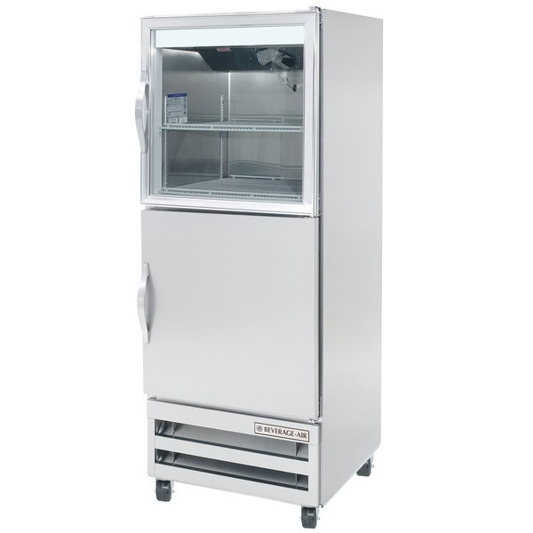 """Beverage-Air RI18HC-HGS 27"""" One Section Glass and Solid Half Door Reach-In Refrigerator - 18 cu. ft."""