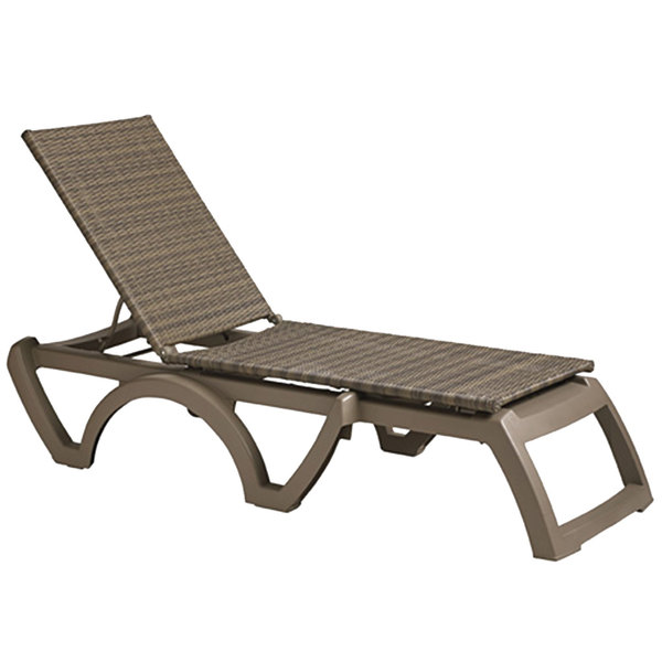 Case of 16 Grosfillex US465281 / US524681 Java Taupe / Moccacino Wicker Resin Chaise