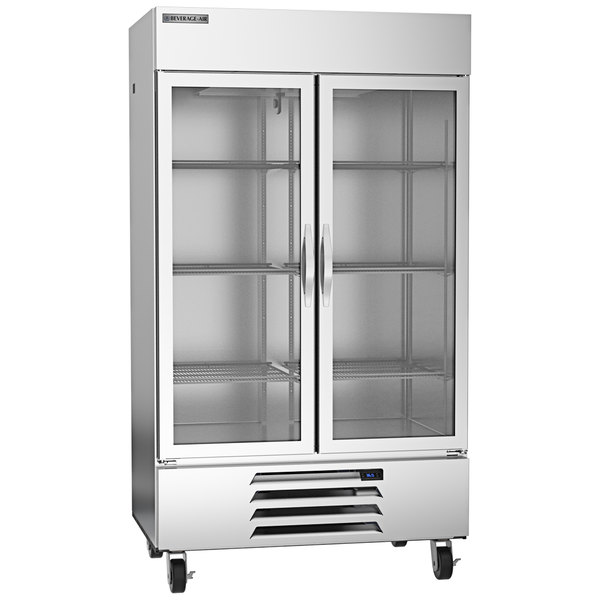 """Beverage-Air HBR44HC-1-G 47"""" Horizon Series Two Section Glass Door Reach-In Refrigerator with LED Lighting Main Image 1"""