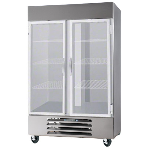 "Beverage-Air HBR44HC-1-G 47"" Horizon Series Two Section Glass Door Reach-In Refrigerator with LED Lighting"