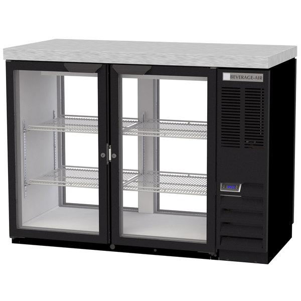 "Beverage-Air BB48HC-1-G-PT-B-27 48"" Black Glass Door Pass-Through Back Bar Refrigerator with 2"" Stainless Steel Top"