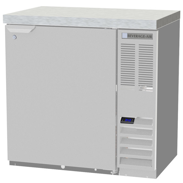 "Beverage-Air BB36HC-1-S-27 36"" Stainless Steel Solid Door Back Bar Refrigerator with 2"" Stainless Steel Top"