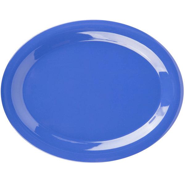 "Carlisle 3308014 Sierrus 13 1/2"" x 10 1/2"" Ocean Blue Oval Melamine Platter - 12/Case"