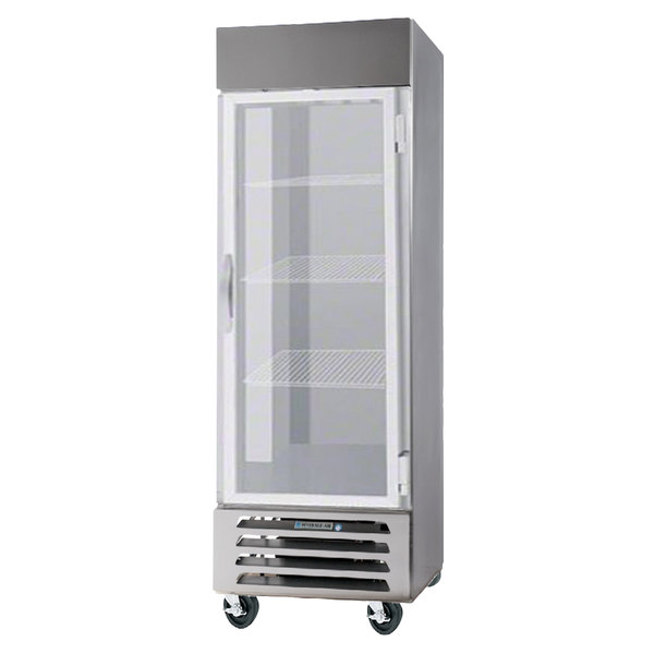 "Beverage-Air HBF12-1-G-S 21"" Horizon Series One Section Glass Door Reach-In Freezer with LED Lighting"