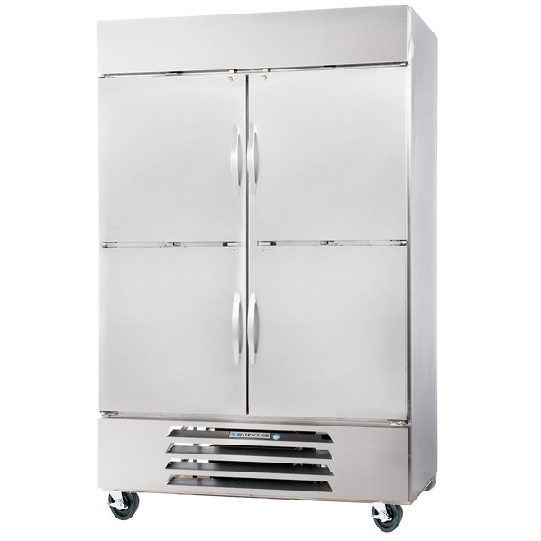 """Beverage-Air HBR44HC-1-HS 47"""" Horizon Series Two Section Solid Half Door Reach-In Refrigerator with LED Lighting"""
