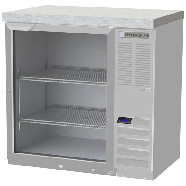 """Beverage-Air BB36HC-1-G-S-27 36"""" Stainless Steel Glass Door Back Bar Refrigerator with 2"""" Stainless Steel Top"""