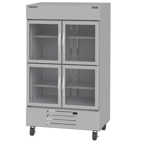 """Beverage-Air HBR44-1-HG-LED 47"""" Horizon Series Two Section Glass Half Door Reach-In Refrigerator with LED Lighting Main Image 1"""
