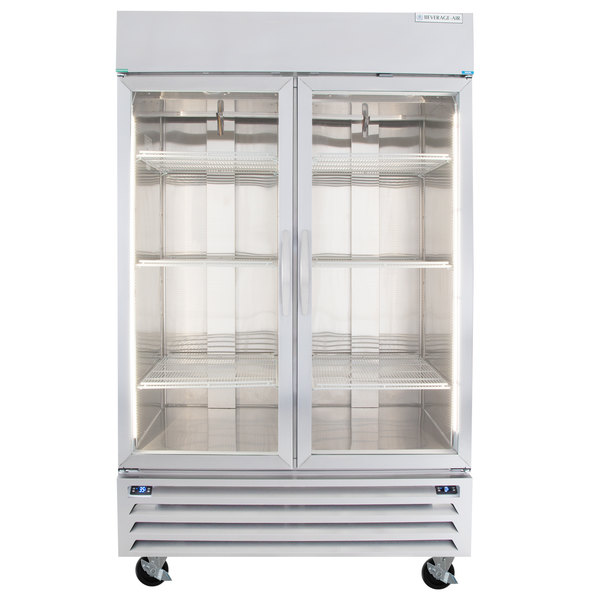 """Beverage-Air HBRF49G-1-B 52"""" Horizon Series Two Section Dual Temperature Reach-In Refrigerator / Freezer with Glass Doors and LED Lighting"""