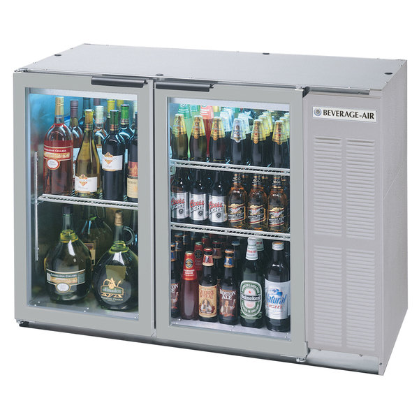 """Beverage-Air BB48GY-1-S-PT-LED 48"""" Stainless Steel Glass Door Pass-Through Back Bar Refrigerator"""
