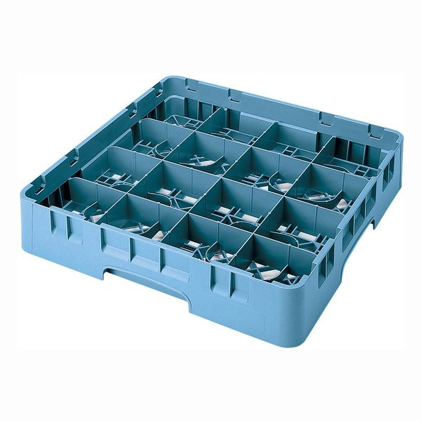 "Cambro 16S434414 Camrack 5 1/4"" High Customizable Teal 16 Compartment Glass Rack Main Image 1"