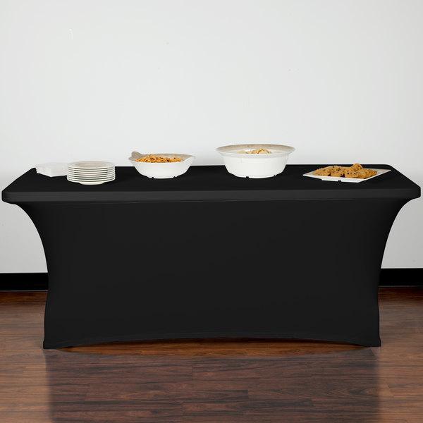 "Marko EMB5026RT630014 Embrace 72"" x 30"" Black Spandex Table Cover"