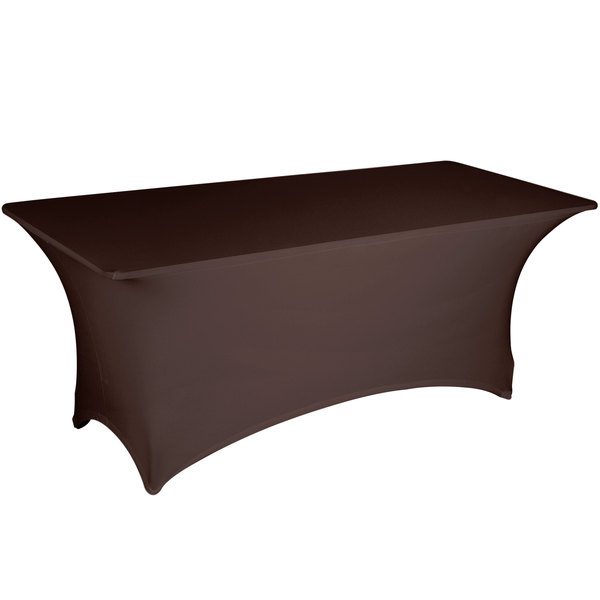 "Marko EMB5026AC418515 Embrace 48"" x 18"" Arch / Serpentine Cut Chocolate Spandex Table Cover"