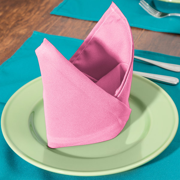 "22"" x 22"" Hot Pink 100% Polyester Hemmed Cloth Napkin - 12/Pack"