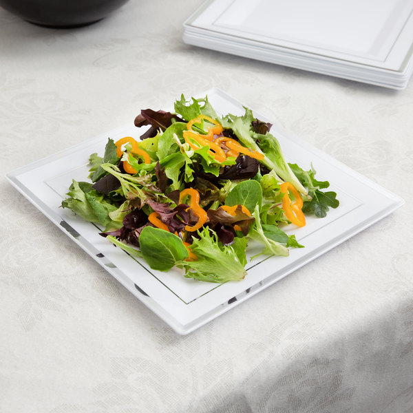 """Fineline Silver Splendor 5510-WH 10"""" White Plastic Square Plate with Silver Bands - 10/Pack"""