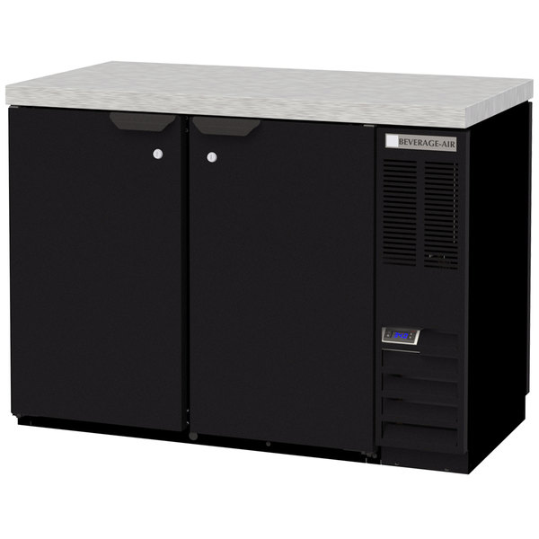 """Beverage-Air BB48HC-1-PT-B-27 48"""" Black Solid Door Pass-Through Back Bar Refrigerator with 2"""" Stainless Steel Top"""