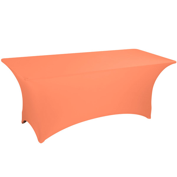 "Marko EMB5026AC424030 Embrace 48"" x 24"" Arch / Serpentine Cut Peach Spandex Table Cover"