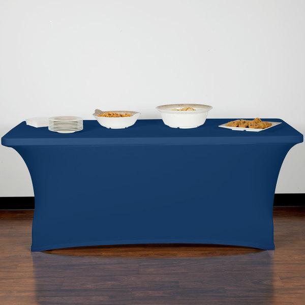 "Marko EMB5026RT630062 Embrace 72"" x 30"" Cadet Blue Spandex Table Cover Main Image 9"