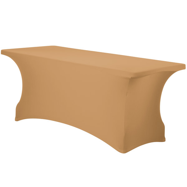 "Marko EMB5026RT624049 Embrace 72"" x 24"" Sandalwood Spandex Table Cover"