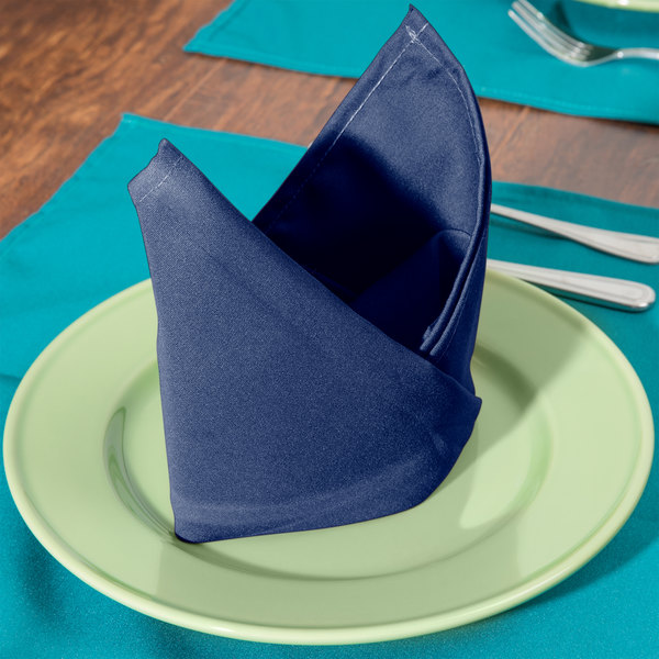 "20"" x 20"" Royal Blue 100% Polyester Hemmed Cloth Napkin - 12/Pack"