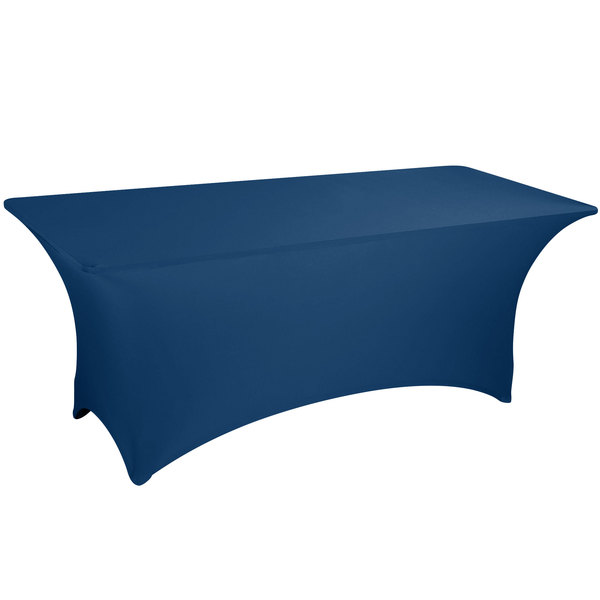 "Marko EMB5026AC430062 Embrace 48"" x 30"" Arch / Serpentine Cut Cadet Blue Spandex Table Cover"