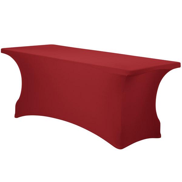 "Marko EMB5026RT624046 Embrace 72"" x 24"" Burgundy Spandex Table Cover"