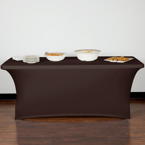 "Marko EMB5026RT630515 Embrace 72"" x 30"" Chocolate Spandex Table Cover"