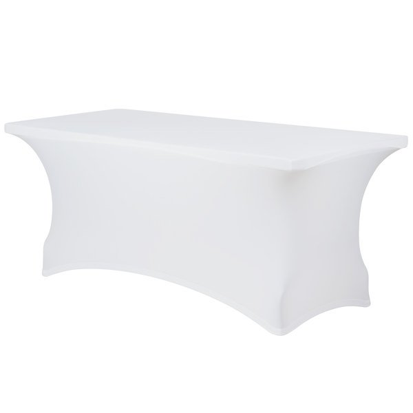 """Marko EMB5026RT418010 Embrace 48"""" x 18"""" White Spandex Table Cover"""