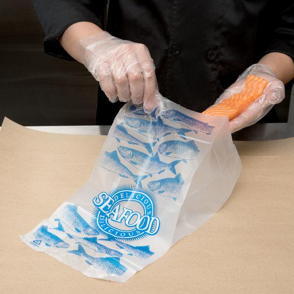 "Seafood Bag 7"" x 4"" x 15"" ""Delicious Seafood"" Design - 1000/Case"