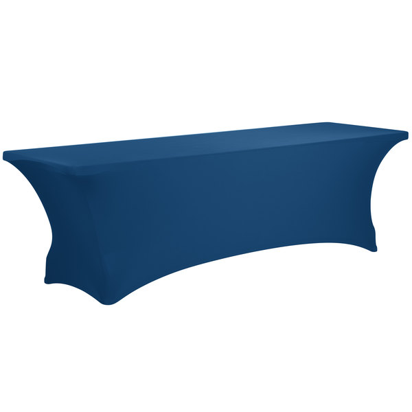 "Marko EMB5026RT818062 Embrace 96"" x 18"" Cadet Blue Spandex Table Cover"