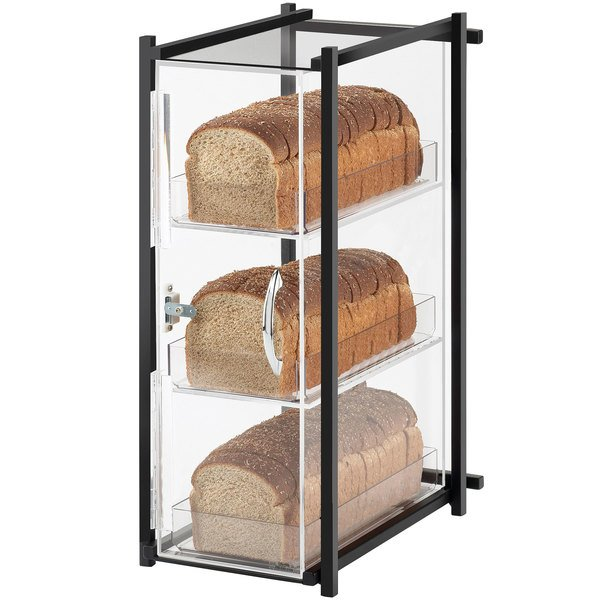 """Cal-Mil 1155-13 One by One Three Tier Black Bread Display Case - 9 1/2"""" x 14 1/2"""" x 19 3/4"""""""