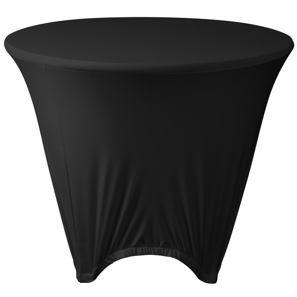 "Marko EMB5026R48014 Embrace 48"" Round Black Spandex Table Cover"