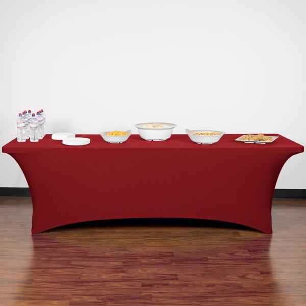 "Marko EMB5026RT830046 Embrace 96"" x 30"" Burgundy Spandex Table Cover"