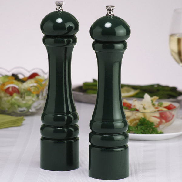 """Chef Specialties 10802 Professional Series 10"""" Customizable Autumn Hues Forest Green Pepper Mill and Salt Mill Set"""