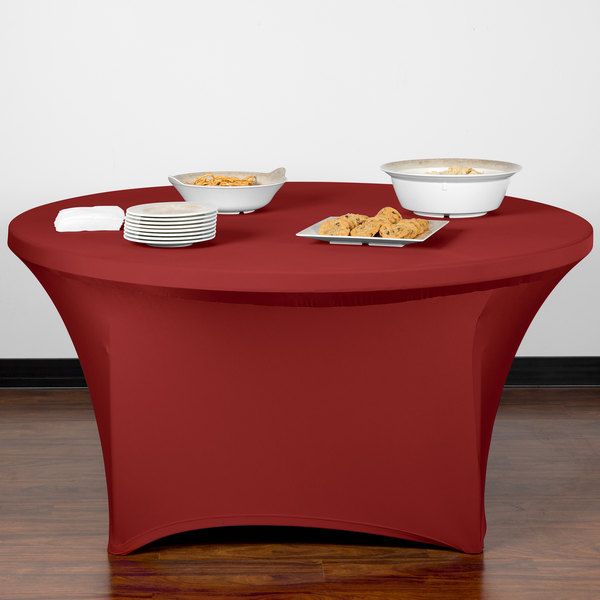"Marko EMB5026R60046 Embrace 60"" Round Burgundy Spandex Table Cover"